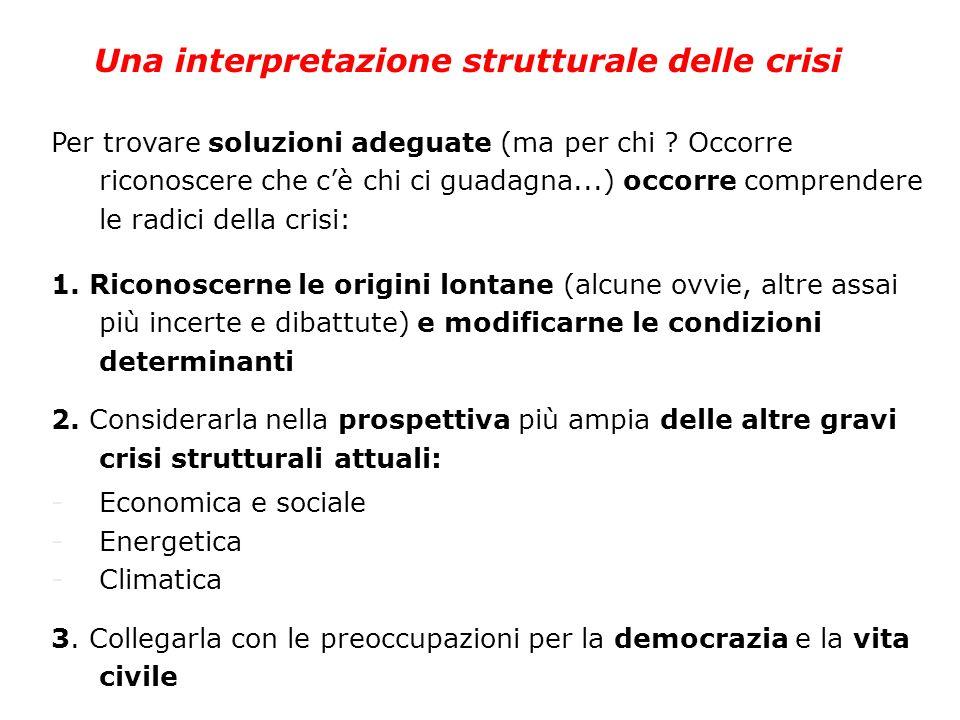 Una interpretazione strutturale delle crisi Per trovare soluzioni adeguate (ma per chi ? Occorre riconoscere che cè chi ci guadagna...) occorre compre
