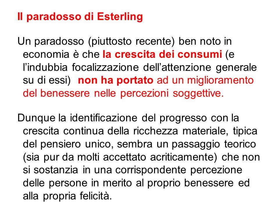 Il paradosso di Esterling Un paradosso (piuttosto recente) ben noto in economia è che la crescita dei consumi (e lindubbia focalizzazione dellattenzio