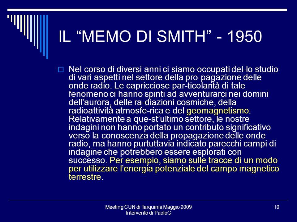 Meeting CUN di Tarquinia Maggio 2009 Intervento di PaoloG 10 Nel corso di diversi anni ci siamo occupati del-lo studio di vari aspetti nel settore della pro-pagazione delle onde radio.
