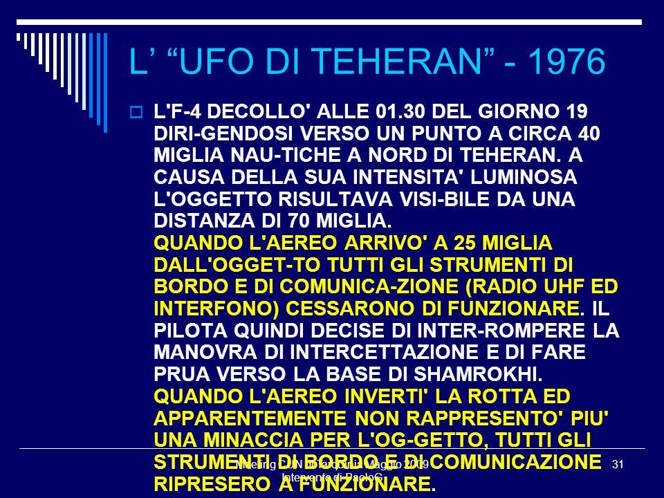 Meeting CUN di Tarquinia Maggio 2009 Intervento di PaoloG 31 L F-4 DECOLLO ALLE 01.30 DEL GIORNO 19 DIRI-GENDOSI VERSO UN PUNTO A CIRCA 40 MIGLIA NAU-TICHE A NORD DI TEHERAN.