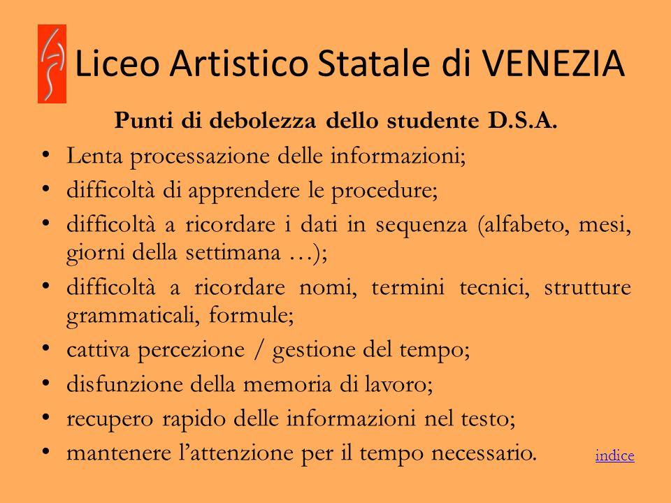 Liceo Artistico Statale di VENEZIA Punti di debolezza dello studente D.S.A. Lenta processazione delle informazioni; difficoltà di apprendere le proced