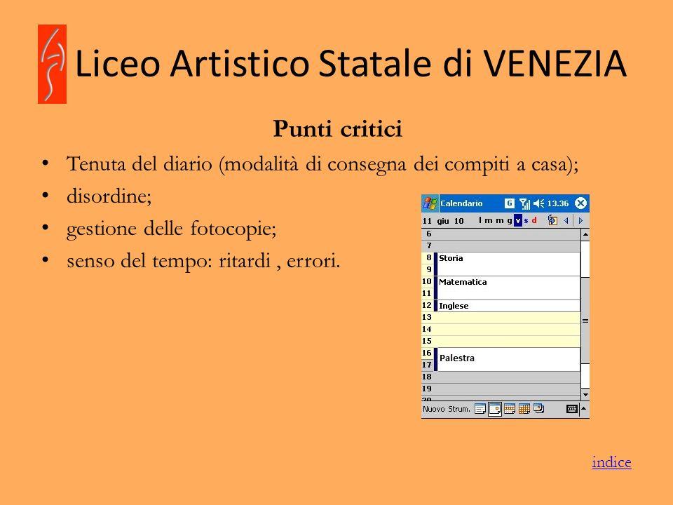 Liceo Artistico Statale di VENEZIA Punti critici Tenuta del diario (modalità di consegna dei compiti a casa); disordine; gestione delle fotocopie; sen