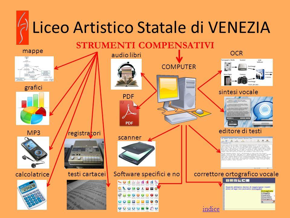 Liceo Artistico Statale di VENEZIA STRUMENTI COMPENSATIVI mappe grafici testi cartacei COMPUTER MP3 registratori audio libri calcolatrice OCR sintesi