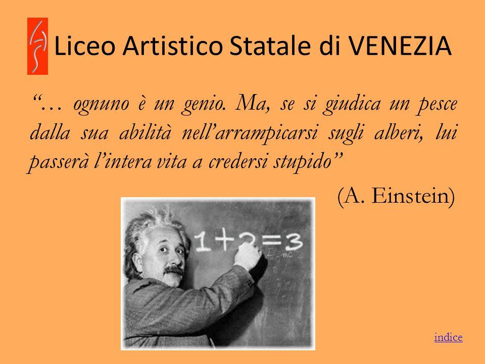 Liceo Artistico Statale di VENEZIA … ognuno è un genio. Ma, se si giudica un pesce dalla sua abilità nellarrampicarsi sugli alberi, lui passerà linter