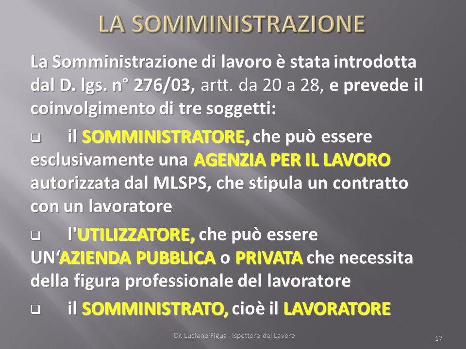 La Somministrazione di lavoro è stata introdotta dal D. lgs. n° 276/03, artt. da 20 a 28, e prevede il coinvolgimento di tre soggetti: il SOMMINISTRAT