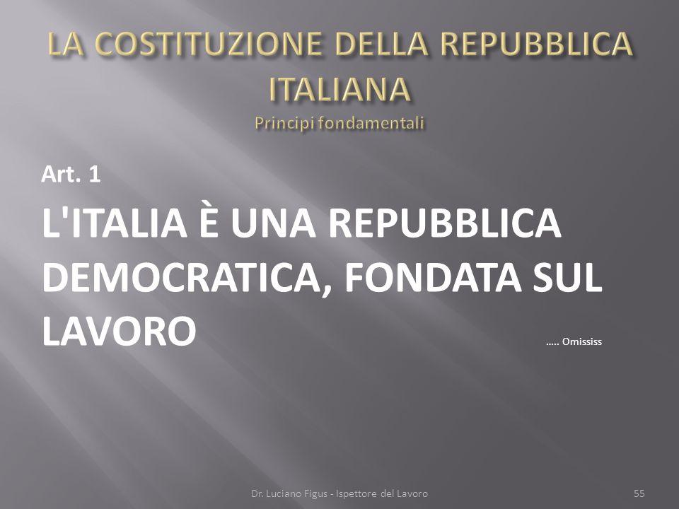 Art. 1 L'ITALIA È UNA REPUBBLICA DEMOCRATICA, FONDATA SUL LAVORO ….. Omississ Dr. Luciano Figus - Ispettore del Lavoro55