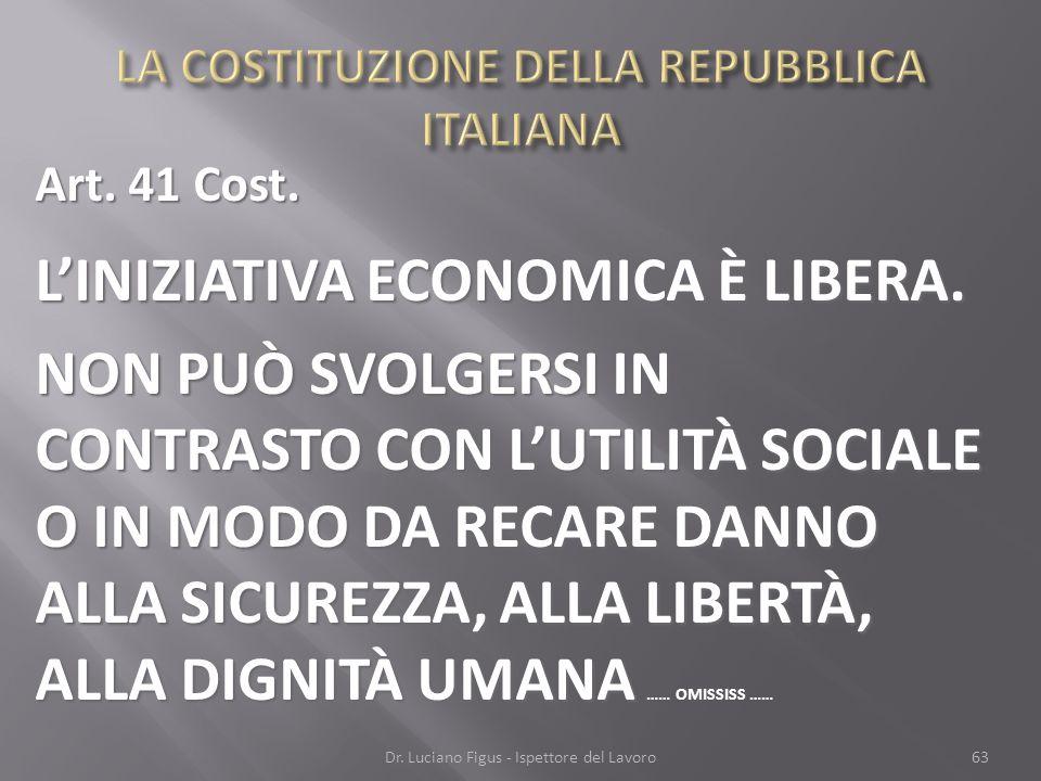 Art. 41 Cost. LINIZIATIVA ECONOMICA È LIBERA. NON PUÒ SVOLGERSI IN CONTRASTO CON LUTILITÀ SOCIALE O IN MODO DA RECARE DANNO ALLA SICUREZZA, ALLA LIBER