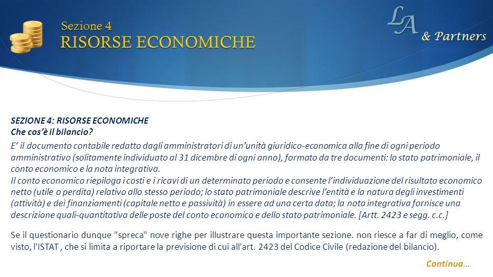 RISORSE ECONOMICHE Sezione 4 Continua… E il documento contabile redatto dagli amministratori di ununità giuridico-economica alla fine di ogni periodo