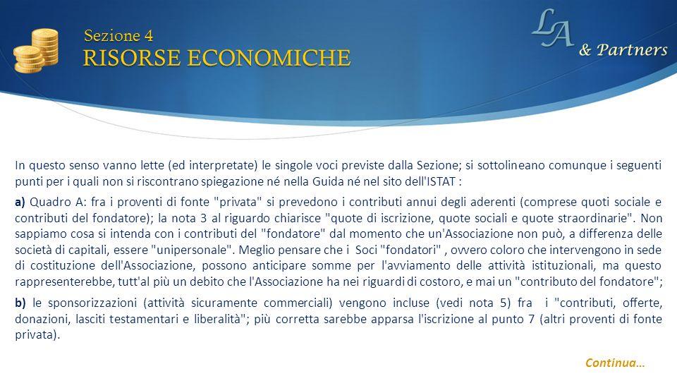 RISORSE ECONOMICHE Sezione 4 Continua… a) Quadro A: fra i proventi di fonte
