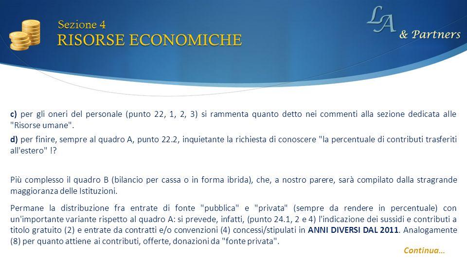 RISORSE ECONOMICHE Sezione 4 Continua… d) per finire, sempre al quadro A, punto 22.2, inquietante la richiesta di conoscere la percentuale di contributi trasferiti all estero !.
