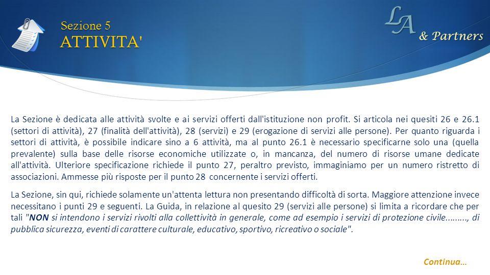 ATTIVITA' Sezione 5 Continua… La Sezione è dedicata alle attività svolte e ai servizi offerti dall'istituzione non profit. Si articola nei quesiti 26