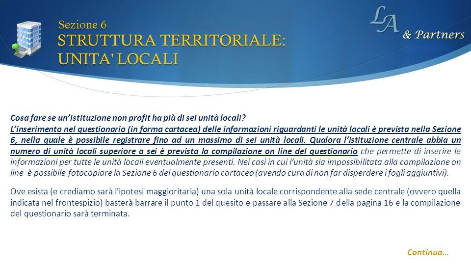 STRUTTURA TERRITORIALE: UNITA LOCALI Sezione 6 Cosa fare se unistituzione non profit ha più di sei unità locali.