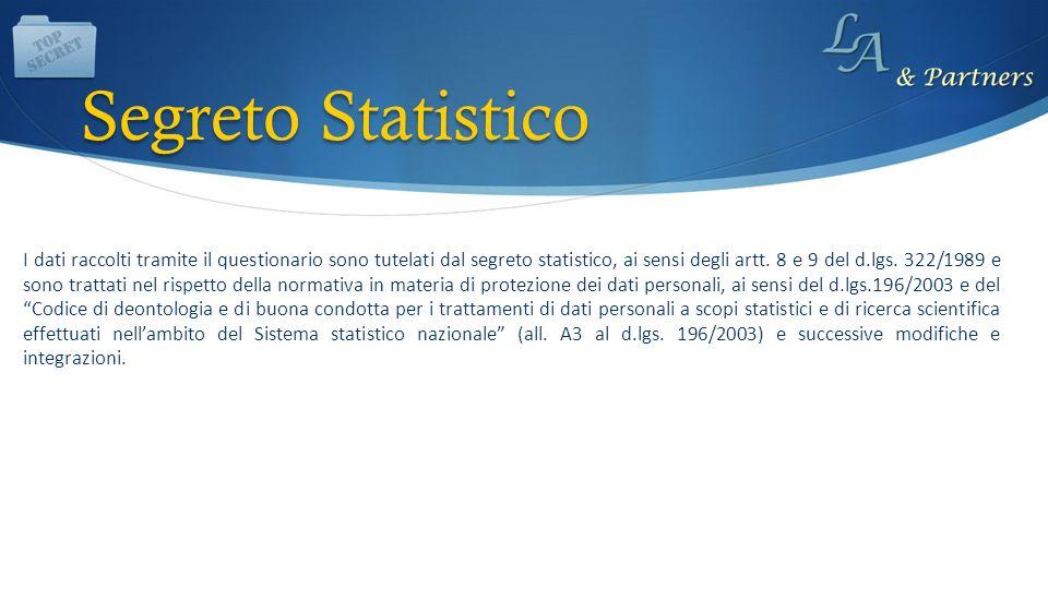 I dati raccolti tramite il questionario sono tutelati dal segreto statistico, ai sensi degli artt. 8 e 9 del d.lgs. 322/1989 e sono trattati nel rispe