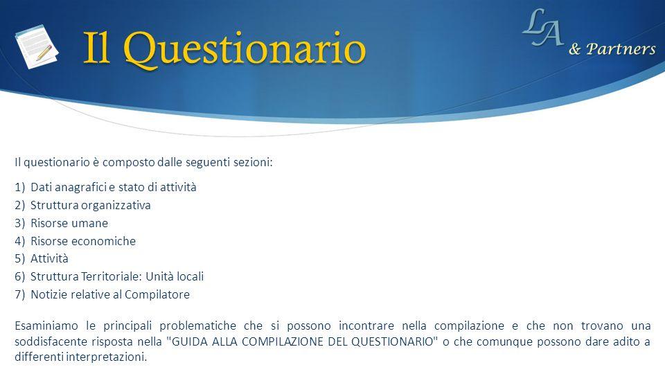 Il Questionario Il questionario è composto dalle seguenti sezioni: 1)Dati anagrafici e stato di attività 2)Struttura organizzativa 3)Risorse umane 4)R