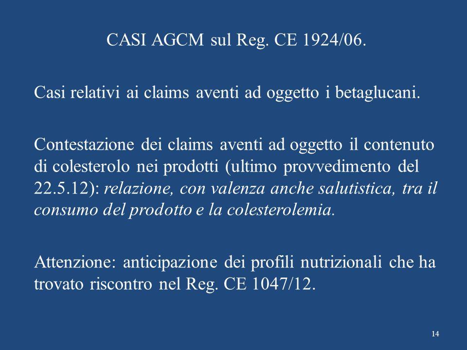 CASI AGCM sul Reg. CE 1924/06. Casi relativi ai claims aventi ad oggetto i betaglucani. Contestazione dei claims aventi ad oggetto il contenuto di col