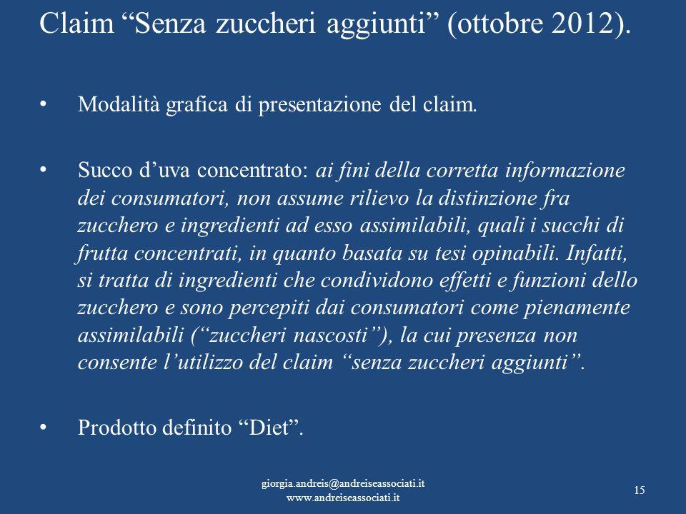Claim Senza zuccheri aggiunti (ottobre 2012). Modalità grafica di presentazione del claim. Succo duva concentrato: ai fini della corretta informazione
