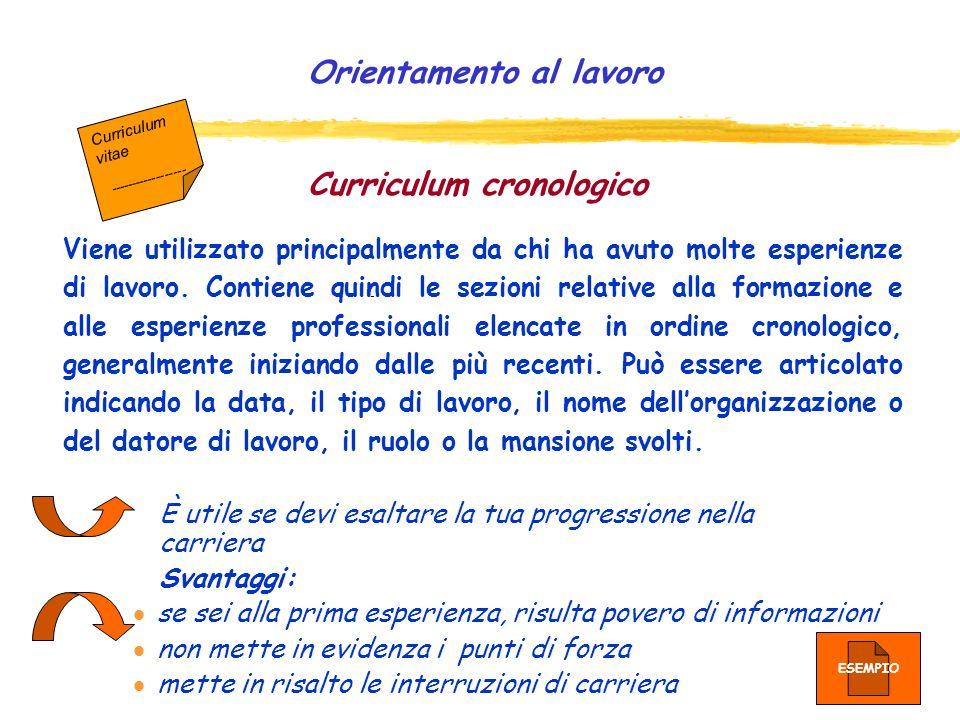 Curriculum per competenze Il curriculum in chiave di competenze fornisce linformazione più importante per linterlocutore, al di là dei titoli di studi