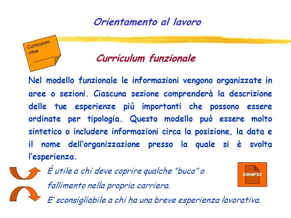 Curriculum cronologico Viene utilizzato principalmente da chi ha avuto molte esperienze di lavoro. Contiene quindi le sezioni relative alla formazione