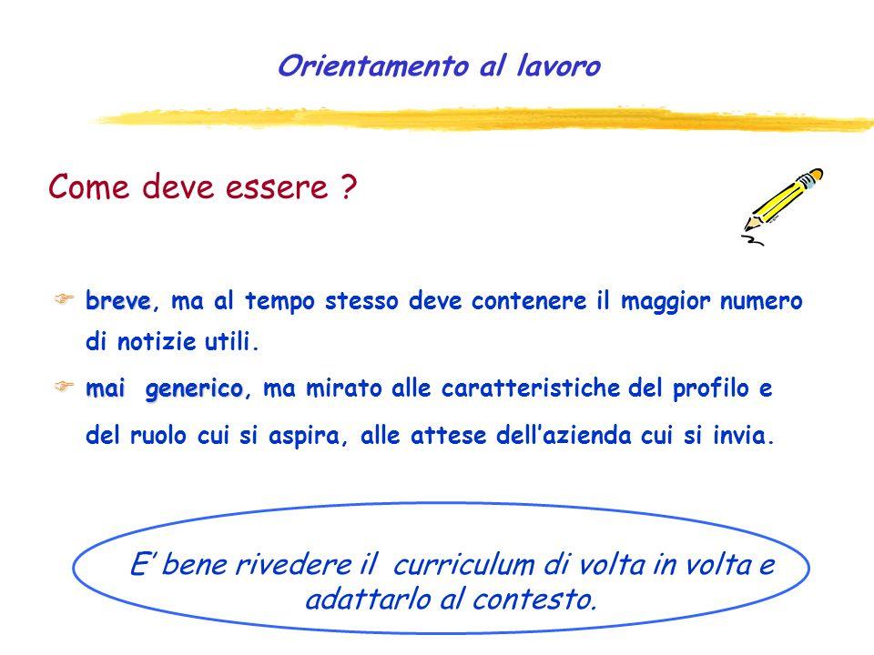 Curriculum funzionale Nel modello funzionale le informazioni vengono organizzate in aree o sezioni.