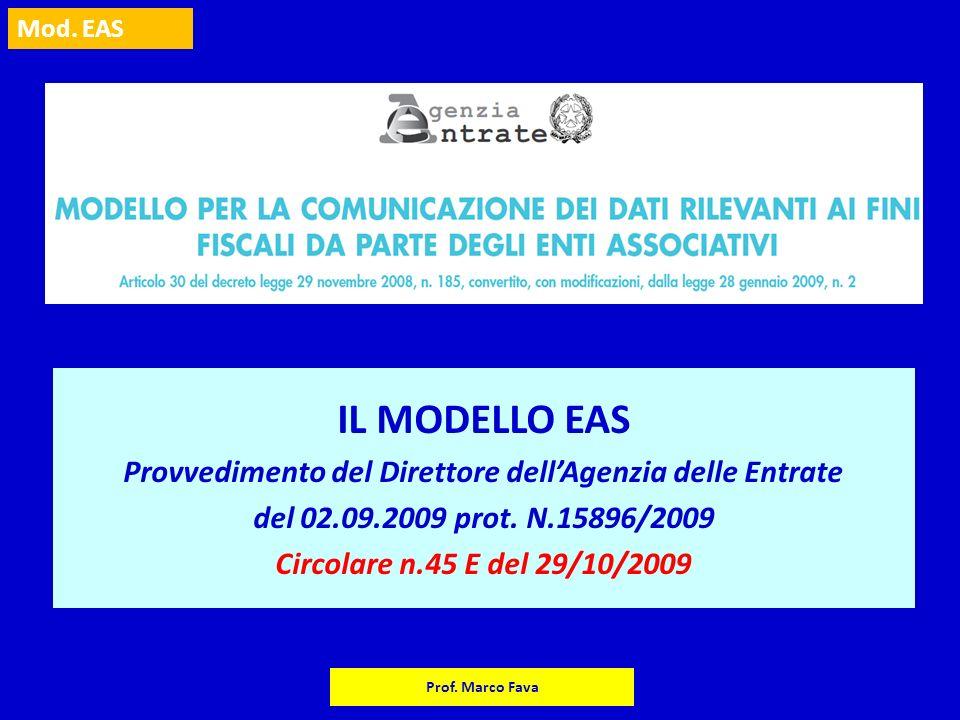 Mod. EAS Prof. Marco Fava IL MODELLO EAS Provvedimento del Direttore dellAgenzia delle Entrate del 02.09.2009 prot. N.15896/2009 Circolare n.45 E del