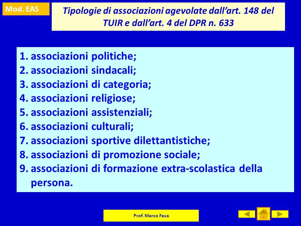 Mod. EAS Prof. Marco Fava Tipologie di associazioni agevolate dallart. 148 del TUIR e dallart. 4 del DPR n. 633 1.associazioni politiche; 2.associazio