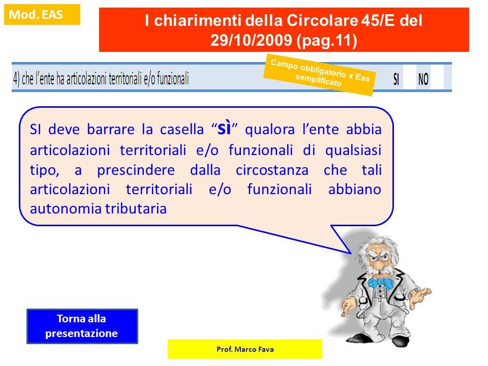 Prof. Marco Fava Mod. EAS Campo obbligatorio x Eas semplificato I chiarimenti della Circolare 45/E del 29/10/2009 (pag.11) SI deve barrare la casella