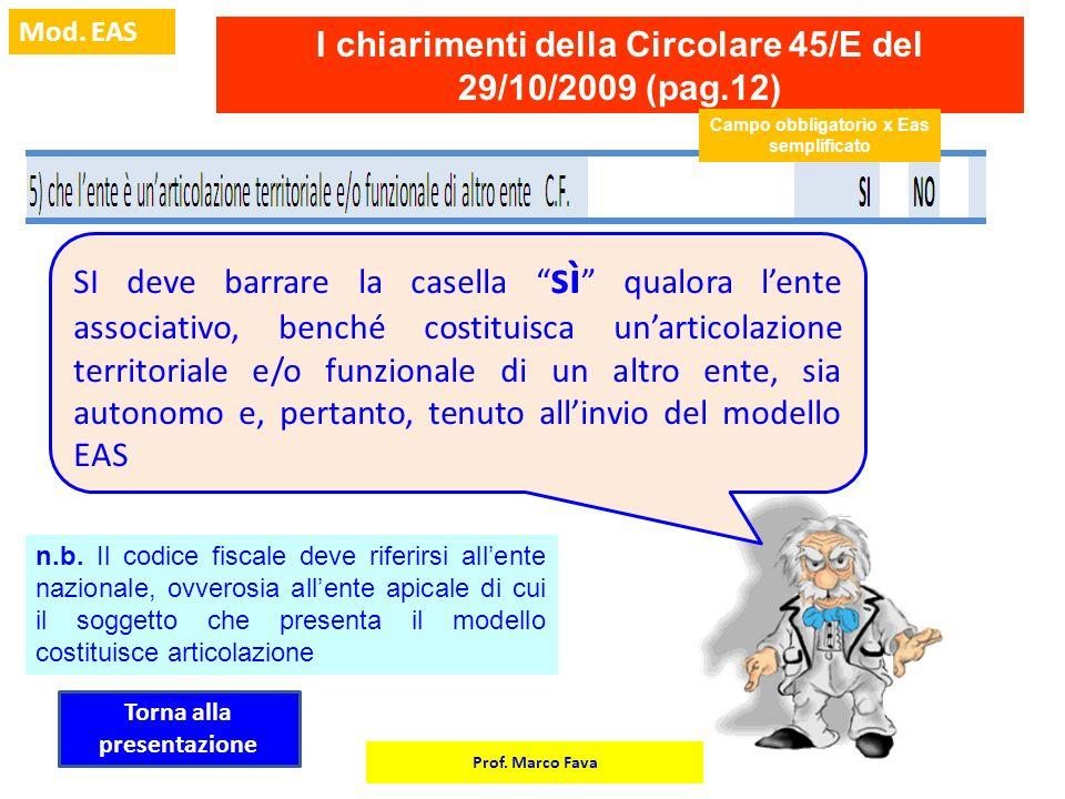 Prof. Marco Fava Mod. EAS I chiarimenti della Circolare 45/E del 29/10/2009 (pag.12) Campo obbligatorio x Eas semplificato SI deve barrare la casella