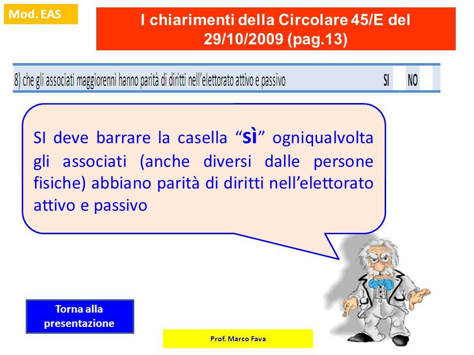 Prof. Marco Fava Mod. EAS I chiarimenti della Circolare 45/E del 29/10/2009 (pag.13) SI deve barrare la casella sì ogniqualvolta gli associati (anche