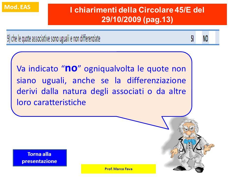 Prof. Marco Fava Mod. EAS I chiarimenti della Circolare 45/E del 29/10/2009 (pag.13) Va indicato no ogniqualvolta le quote non siano uguali, anche se