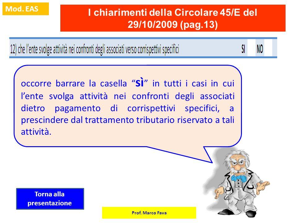 Prof. Marco Fava Mod. EAS I chiarimenti della Circolare 45/E del 29/10/2009 (pag.13) occorre barrare la casella sì in tutti i casi in cui lente svolga