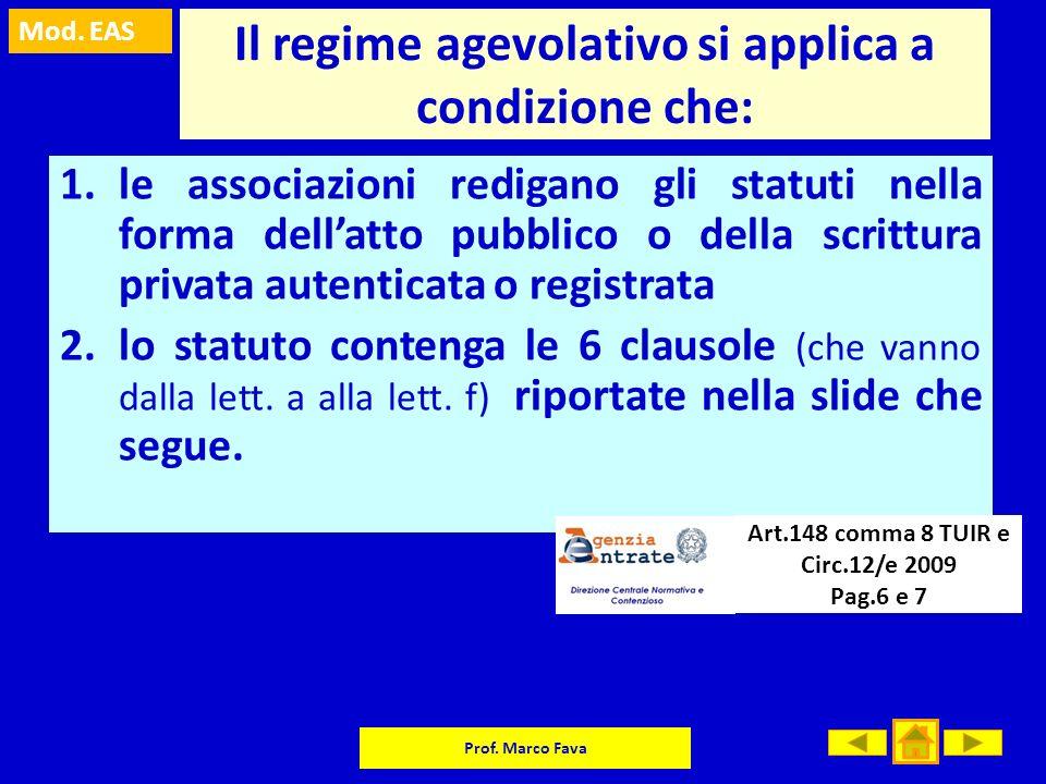 Mod. EAS Prof. Marco Fava Il regime agevolativo si applica a condizione che: 1.le associazioni redigano gli statuti nella forma dellatto pubblico o de