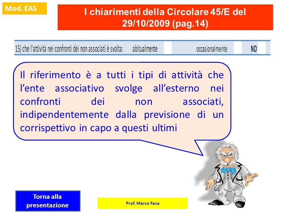 Prof. Marco Fava Mod. EAS I chiarimenti della Circolare 45/E del 29/10/2009 (pag.14) Il riferimento è a tutti i tipi di attività che lente associativo