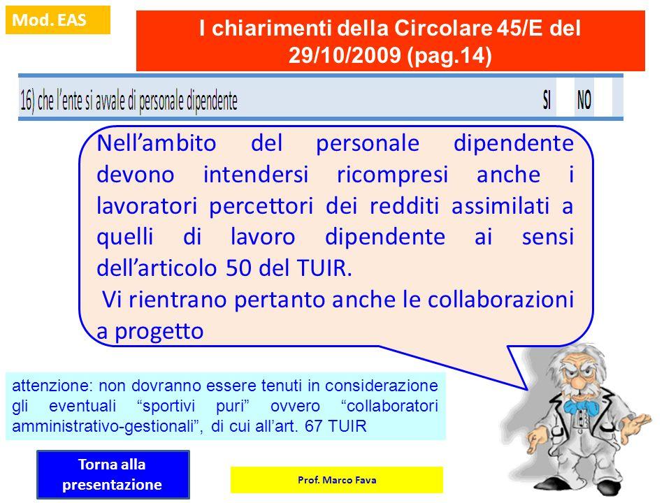 Prof. Marco Fava Mod. EAS I chiarimenti della Circolare 45/E del 29/10/2009 (pag.14) Nellambito del personale dipendente devono intendersi ricompresi