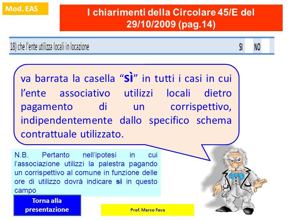 Prof. Marco Fava Mod. EAS I chiarimenti della Circolare 45/E del 29/10/2009 (pag.14) va barrata la casella sì in tutti i casi in cui lente associativo