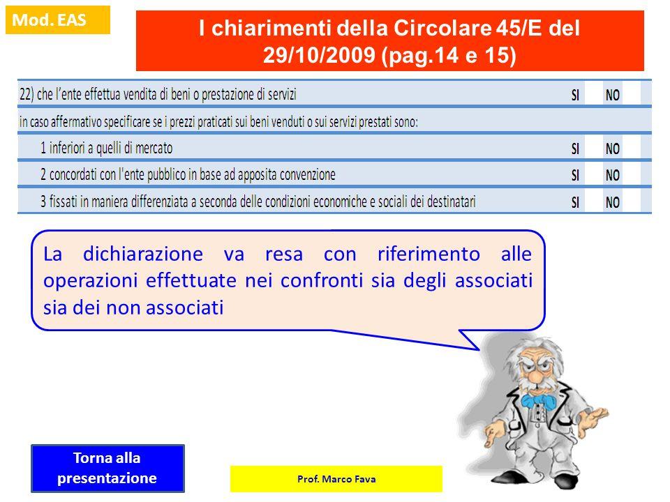 Prof. Marco Fava Mod. EAS I chiarimenti della Circolare 45/E del 29/10/2009 (pag.14 e 15) La dichiarazione va resa con riferimento alle operazioni eff