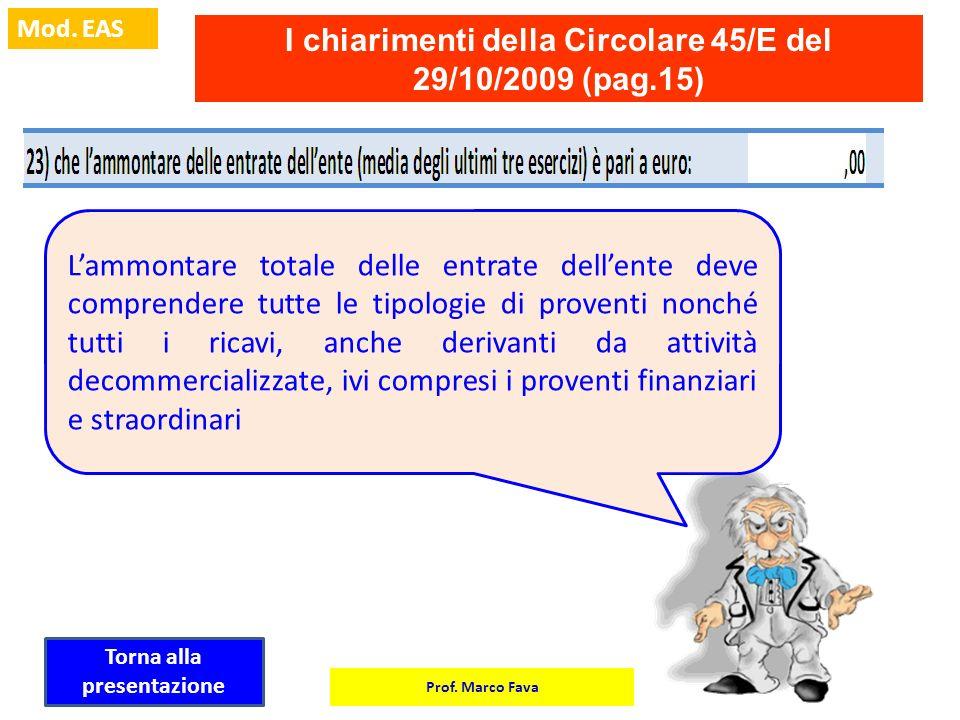Prof. Marco Fava Mod. EAS I chiarimenti della Circolare 45/E del 29/10/2009 (pag.15) Lammontare totale delle entrate dellente deve comprendere tutte l