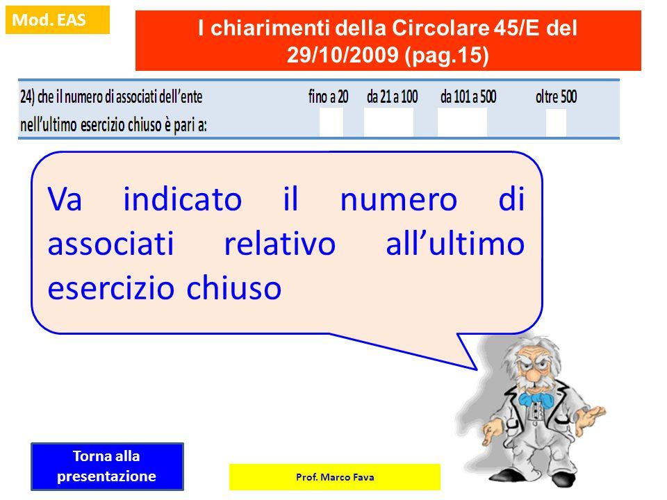 Prof. Marco Fava Mod. EAS I chiarimenti della Circolare 45/E del 29/10/2009 (pag.15) Va indicato il numero di associati relativo allultimo esercizio c