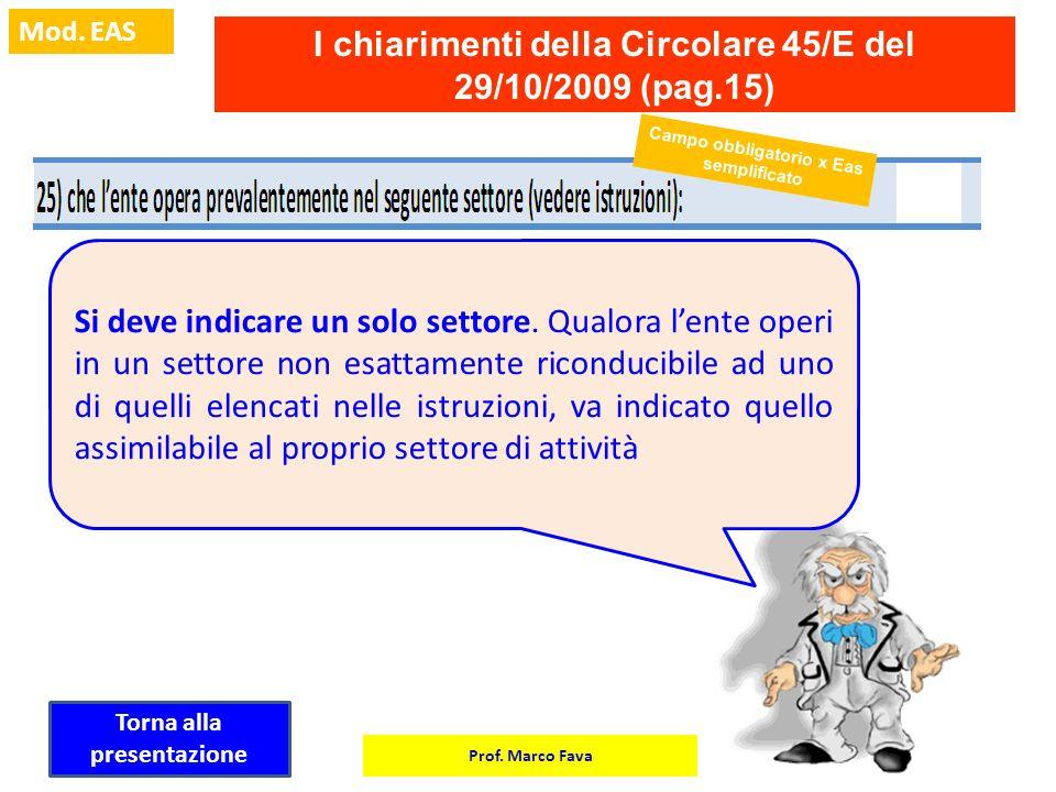 Prof. Marco Fava Mod. EAS I chiarimenti della Circolare 45/E del 29/10/2009 (pag.15) Si deve indicare un solo settore. Qualora lente operi in un setto