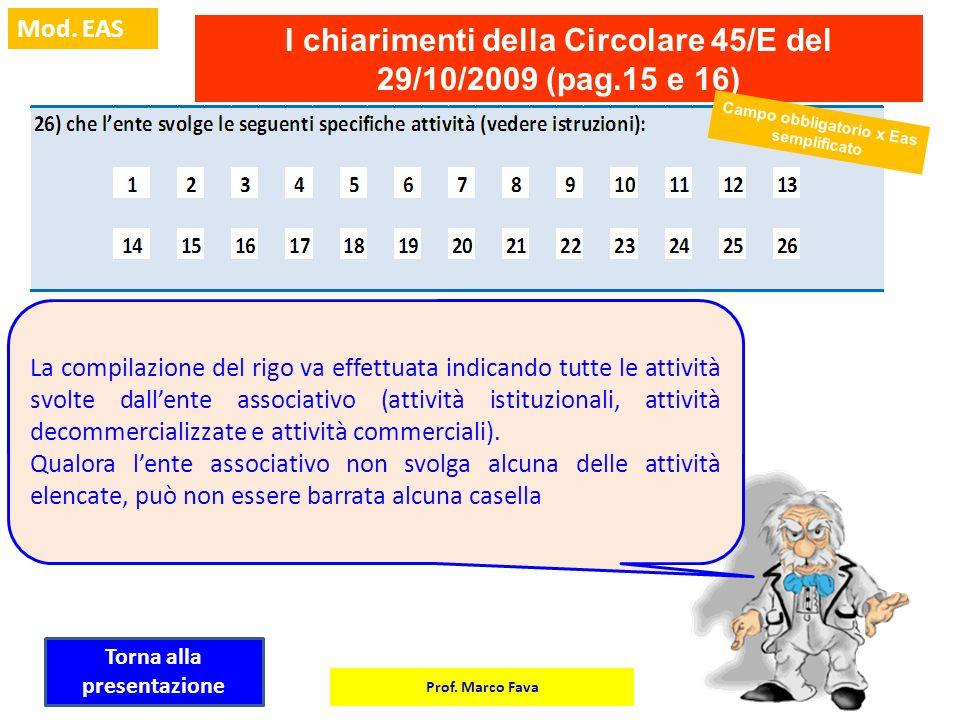 Prof. Marco Fava Mod. EAS I chiarimenti della Circolare 45/E del 29/10/2009 (pag.15 e 16) La compilazione del rigo va effettuata indicando tutte le at