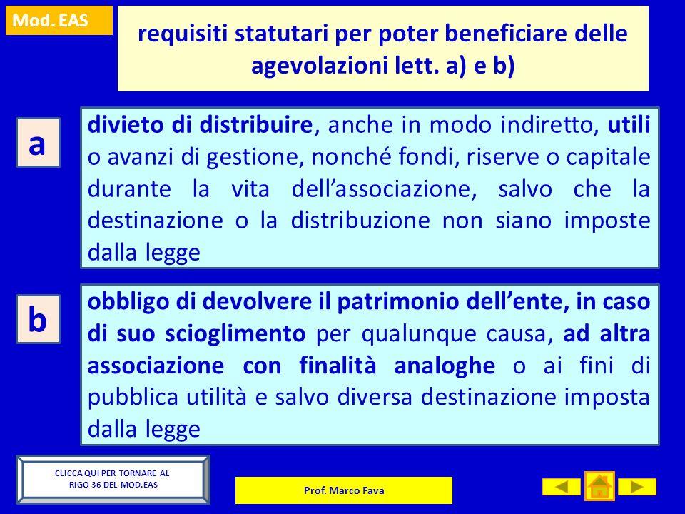 Mod. EAS Prof. Marco Fava requisiti statutari per poter beneficiare delle agevolazioni lett. a) e b) a divieto di distribuire, anche in modo indiretto