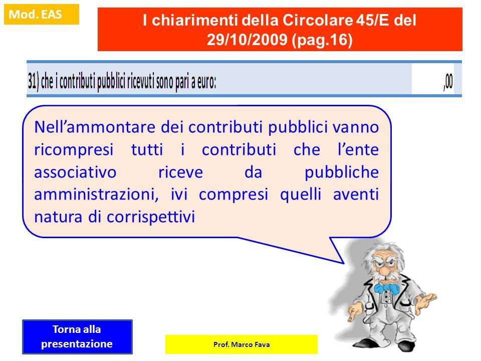 Prof. Marco Fava Mod. EAS I chiarimenti della Circolare 45/E del 29/10/2009 (pag.16) Nellammontare dei contributi pubblici vanno ricompresi tutti i co