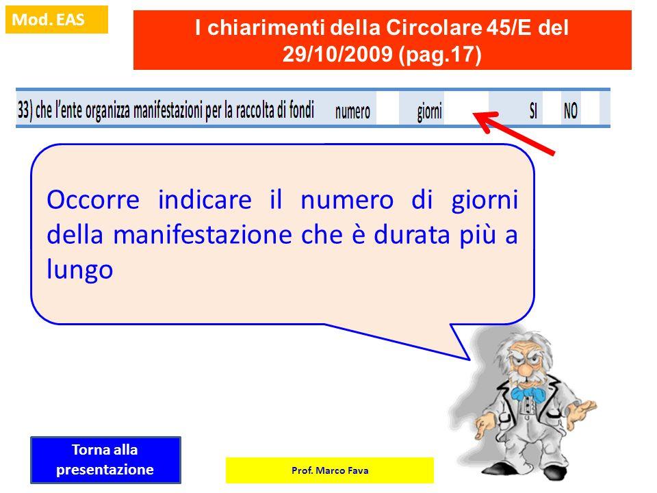 Prof. Marco Fava Mod. EAS I chiarimenti della Circolare 45/E del 29/10/2009 (pag.17) Occorre indicare il numero di giorni della manifestazione che è d