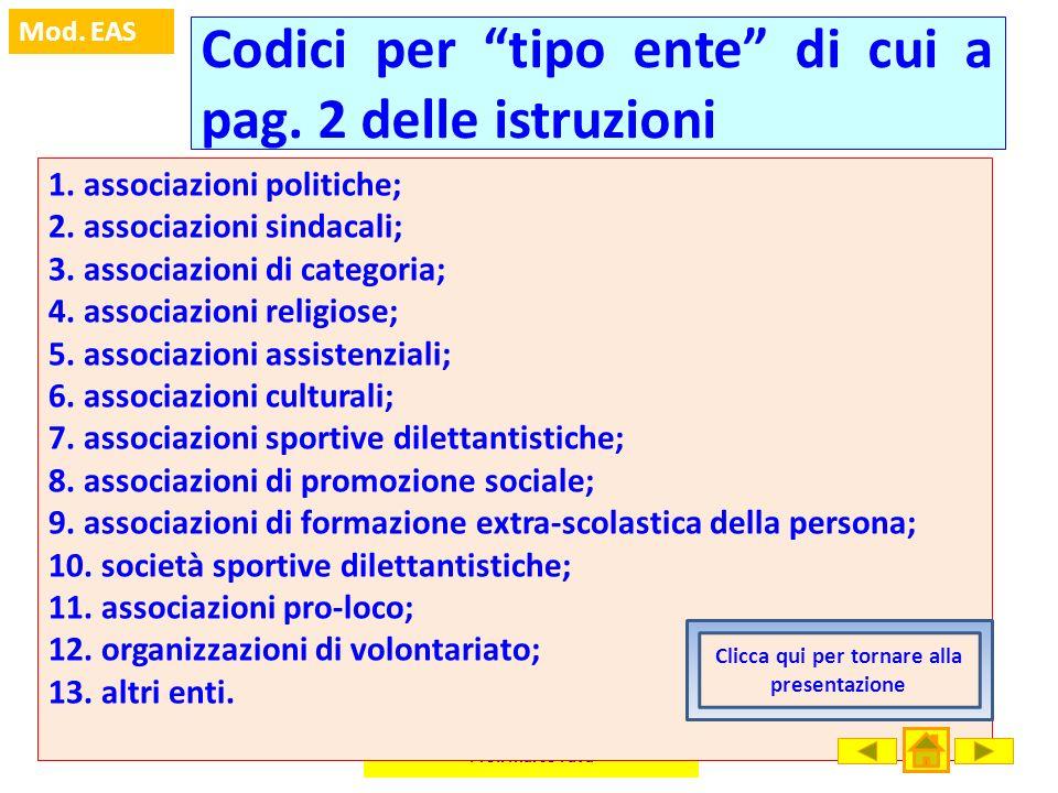 Prof. Marco Fava Mod. EAS Codici per tipo ente di cui a pag. 2 delle istruzioni 1. associazioni politiche; 2. associazioni sindacali; 3. associazioni