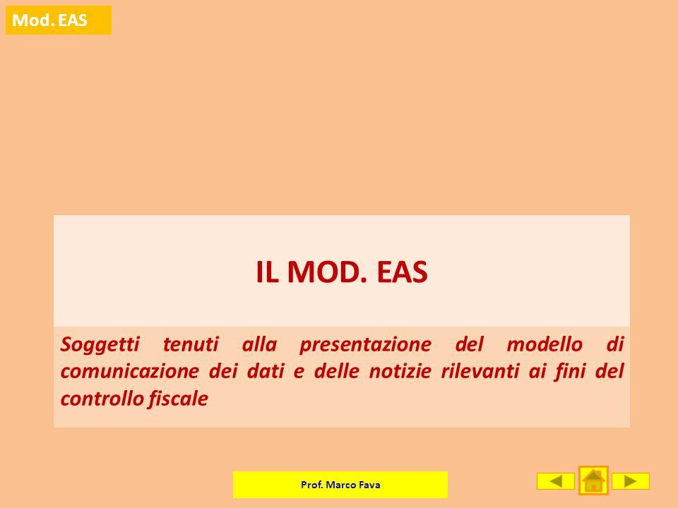 Prof. Marco Fava Mod. EAS Soggetti tenuti alla presentazione del modello di comunicazione dei dati e delle notizie rilevanti ai fini del controllo fis