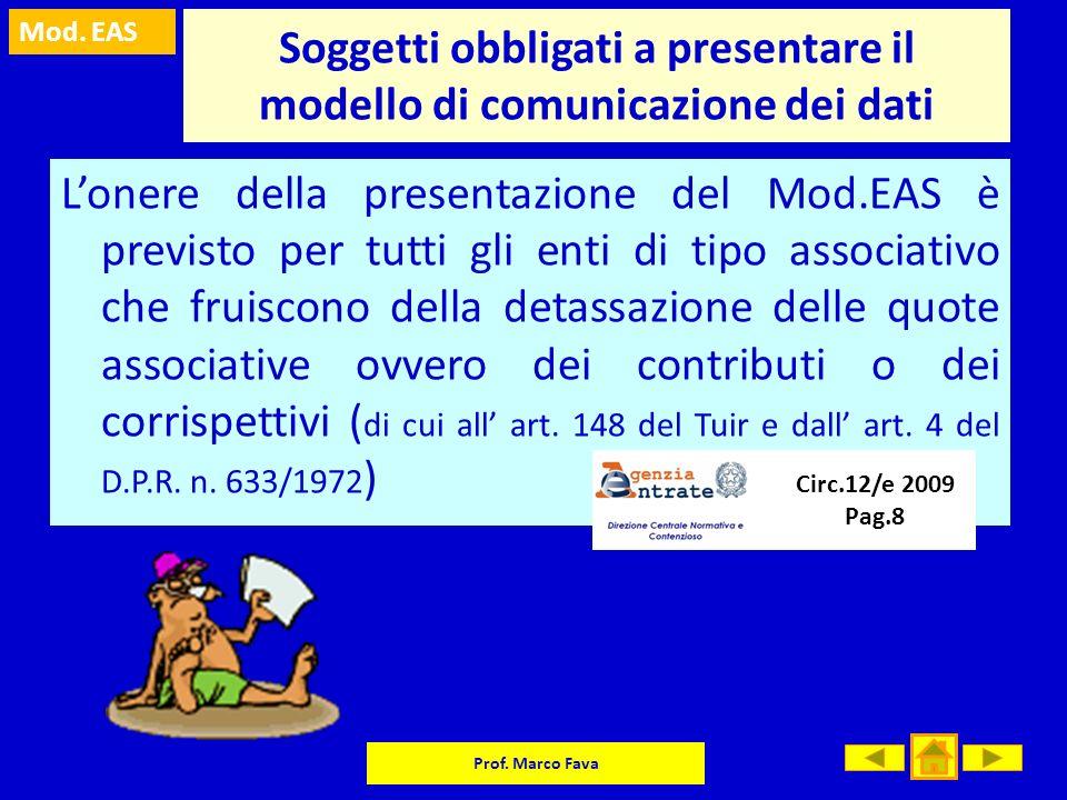 Mod. EAS Prof. Marco Fava Soggetti obbligati a presentare il modello di comunicazione dei dati Lonere della presentazione del Mod.EAS è previsto per t