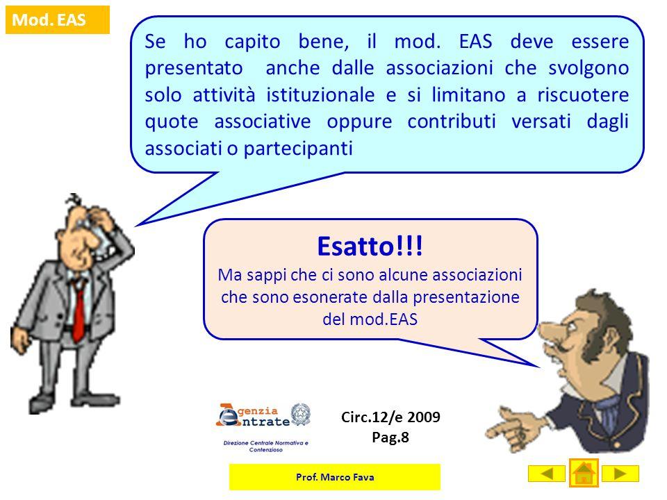 Prof. Marco Fava Mod. EAS Se ho capito bene, il mod. EAS deve essere presentato anche dalle associazioni che svolgono solo attività istituzionale e si