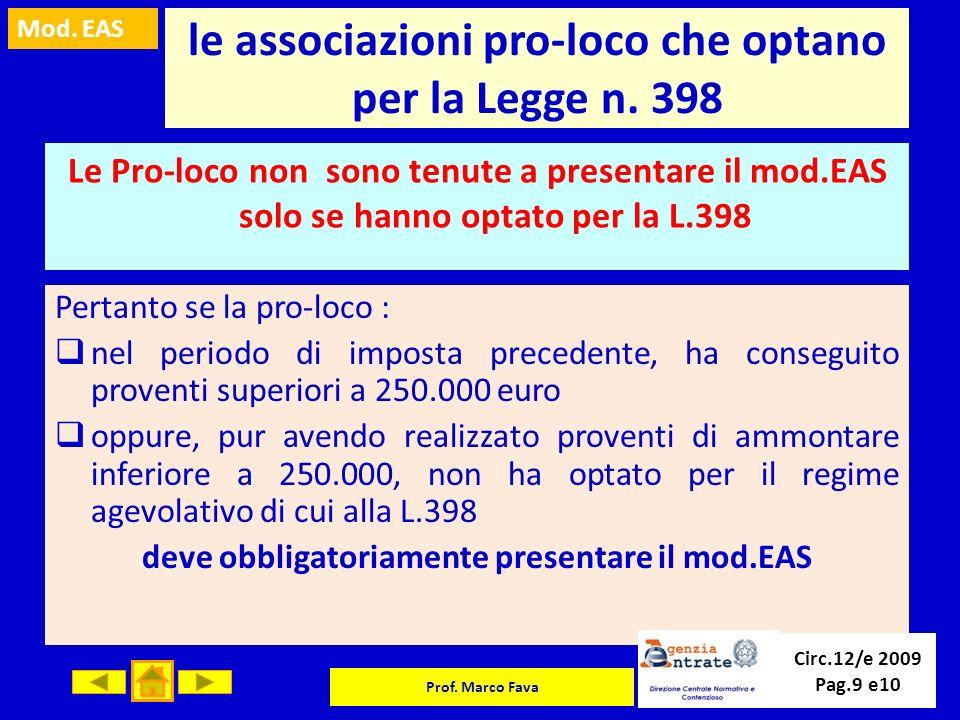 Mod. EAS Prof. Marco Fava le associazioni pro-loco che optano per la Legge n. 398 Le Pro-loco non sono tenute a presentare il mod.EAS solo se hanno op