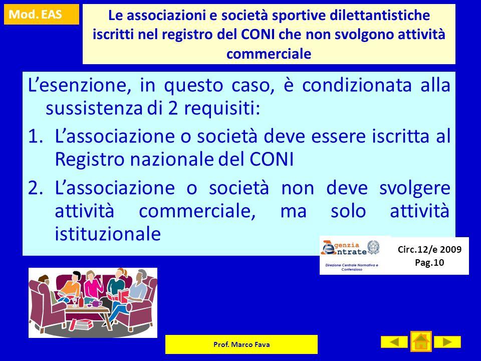 Mod. EAS Prof. Marco Fava Le associazioni e società sportive dilettantistiche iscritti nel registro del CONI che non svolgono attività commerciale Les