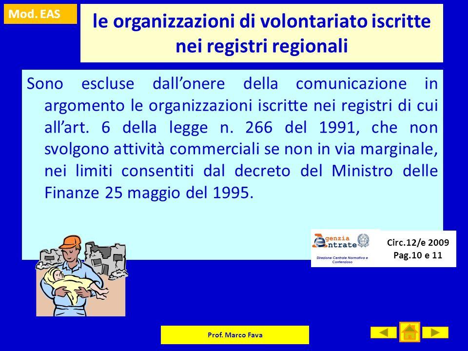 Mod. EAS Prof. Marco Fava le organizzazioni di volontariato iscritte nei registri regionali Sono escluse dallonere della comunicazione in argomento le