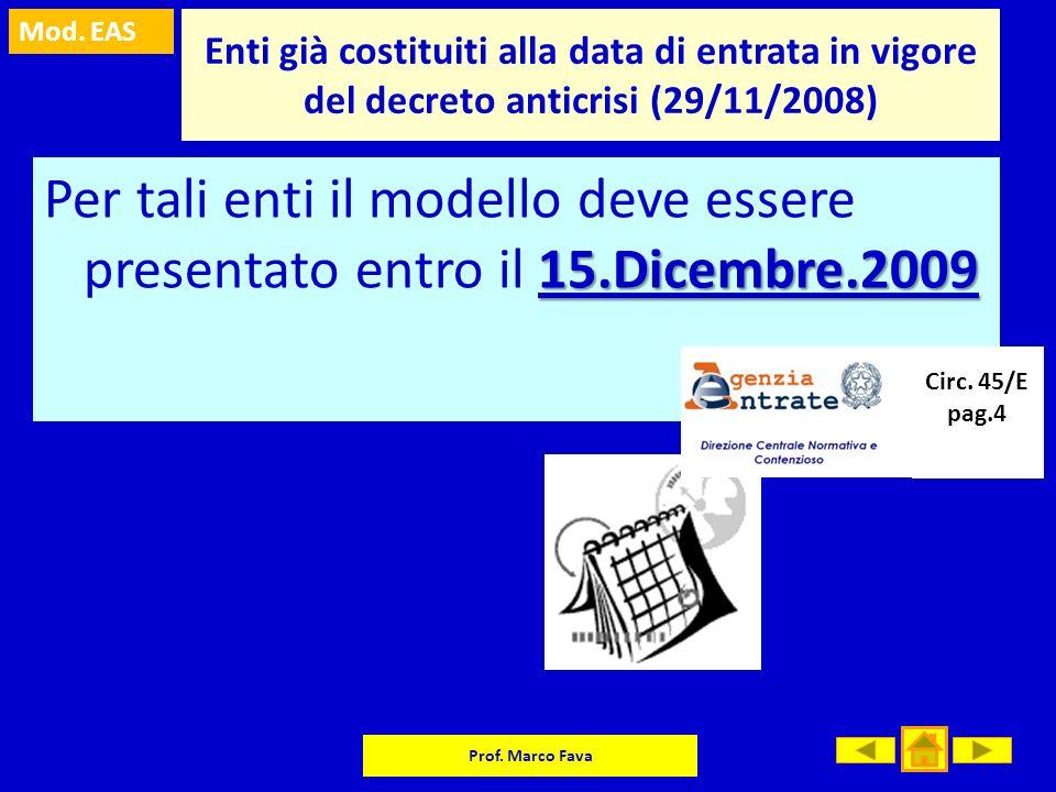 Mod. EAS Prof. Marco Fava Enti già costituiti alla data di entrata in vigore del decreto anticrisi (29/11/2008) 15.Dicembre.2009 Per tali enti il mode